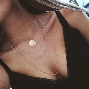 Multi-layered Coin Necklace (Gold)